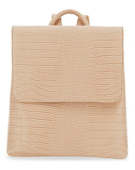 Glamorous Beige Croc Backpack Bag