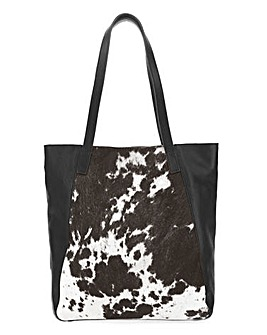 Cow Print Leather Tote