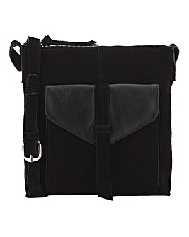Suede Front Pocket Messenger Bag
