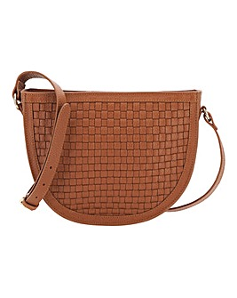 Woven Half Moon Tan Leather Bag