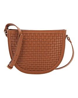 Woven Half Moon Tan Leather Bag