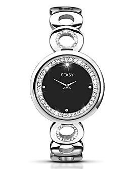 Seksy Silver Circular Bracelet Watch