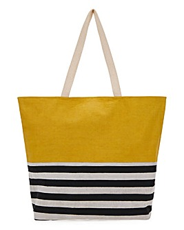 Canvas Stripe And Block Tote