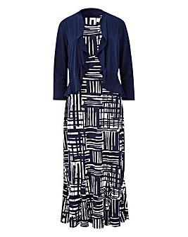 Navy/Ivory Print Dress & Shrug L45