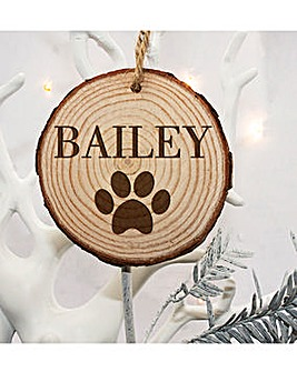 Personalised Paw Print Xmas Decoration