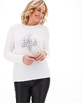 Apricot Sequin Snowflake Fluffy Jumper