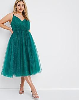 Dolly & Delicious Glitter Mesh Midi Dress