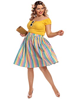 Collectif Jasmine Rainbow Swing Skirt