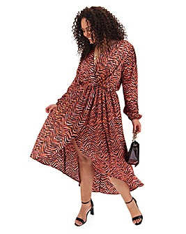 Ax Paris Dip Hem Pink Print Wrap Dress