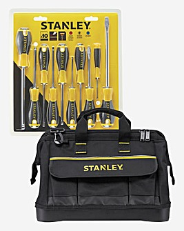 Stanley Open Mouthed Tool Bag with Screwdriver Set