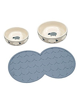 Sheep Pet Bowl and Placemat Set