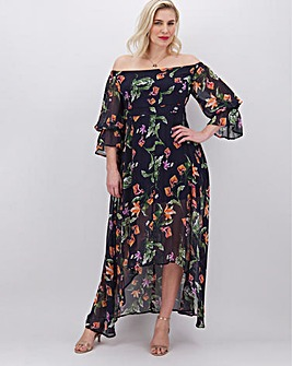 Lovedrobe Dark Floral Dip Hem Dress
