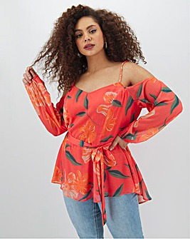 Lovedrobe Cold Shoulder Printed Blouse