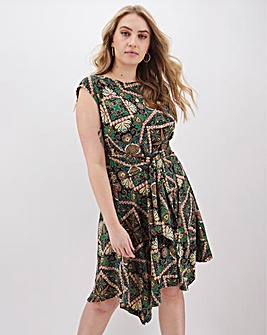 Apricot Printed Sleeveless Skater Dress