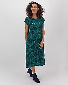 Apricot Printed Midi Dress