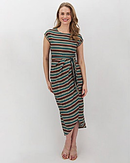 Apricot Stripe T-Shirt Wrap Midi Dress