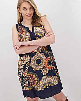 Apricot Printed Sleeveless Shift Dress