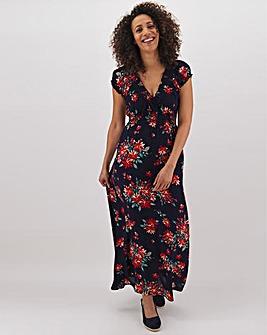 Apricot Floral Print V Neck Maxi Dress