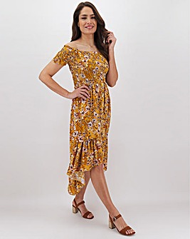 Apricot High Low Hem Bardot Dress