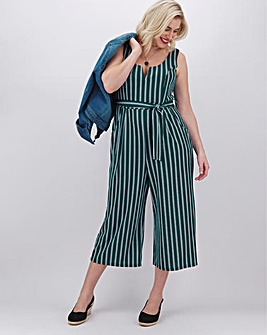 Apricot Stripe Sleeveless Jumpsuit