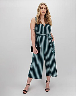 Apricot Stripe Sleeveless Jumpsuit