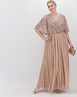 Maya Curve Kimono Sleeve Sequin Maxi