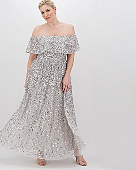 Maya Curve Bardot Sequin Maxi Dress