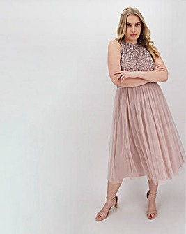 Maya Curve Sleeveless Sequin Midi Dress