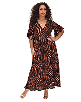 Ax Paris Tiger Print Wrap Dress