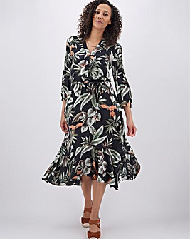 Oasis Tropical Leaf Midi Shirt Dress