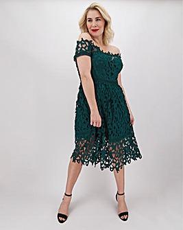 Chi Chi London Crochet Lace Bardot Dress