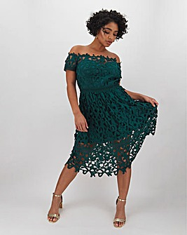 Chi Chi London Crochet Lace Bardot Dress