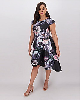 Chi Chi London Dark Floral Dip Hem Dress