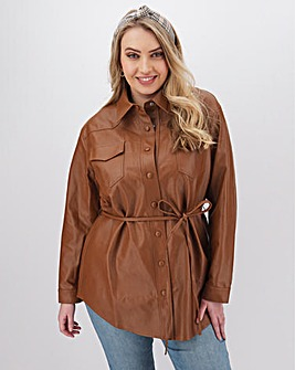 Glamorous PU Shirt Jacket with Tie Waist