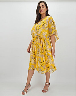 Lovedrobe Floral Cape Sleeve Dress