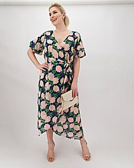 Lovedrobe Floral Belted Wrap Midi Dress
