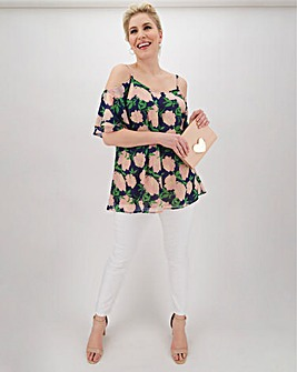 Lovedrobe Cold Shoulder Floral Blouse