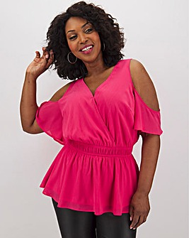 Lovedrobe Pink Cold Shoulder Blouse