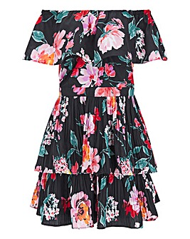 Lovedrobe Floral Bardot Pleated Tiered Dress