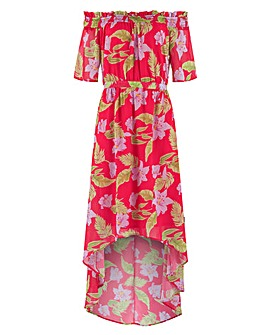 Lovedrobe Floral Dip Hem Bardot Dress