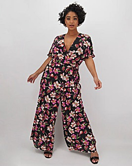 Lovedrobe Floral Wrap Wide Leg Jumpsuit