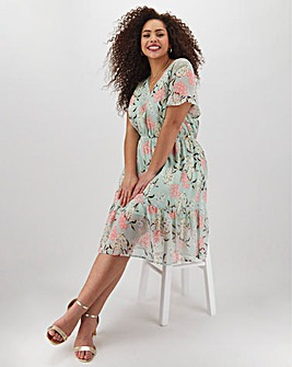 Lovedrobe Floral Tiered Midi Dress