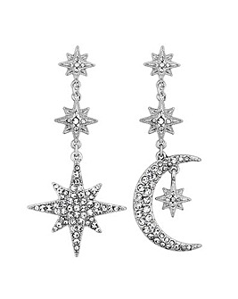 Crystal moon and star statement earring