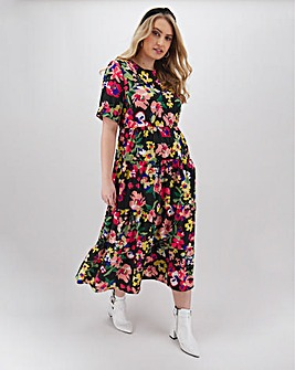 Neon Rose Tiered Floral Print Midi
