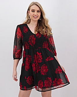 Neon Rose Floral Dress With Tiered Skirt