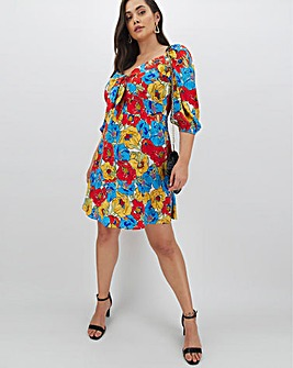 Neon Rose Floral Tie Front Mini Dress