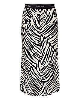 Calvin Klein Zebra Print Midi Skirt