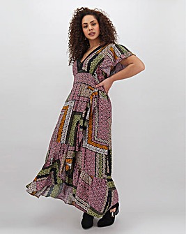 Band Of Gypsies Ruffle Wrap Maxi Dress