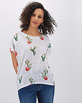 Apricot Cactus Print Short Sleeve Top