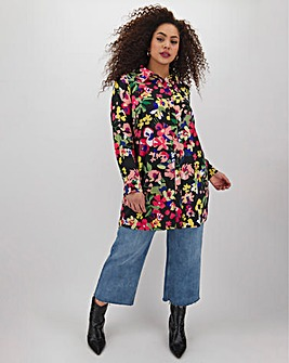 Neon Rose Floral Oversized Shirt